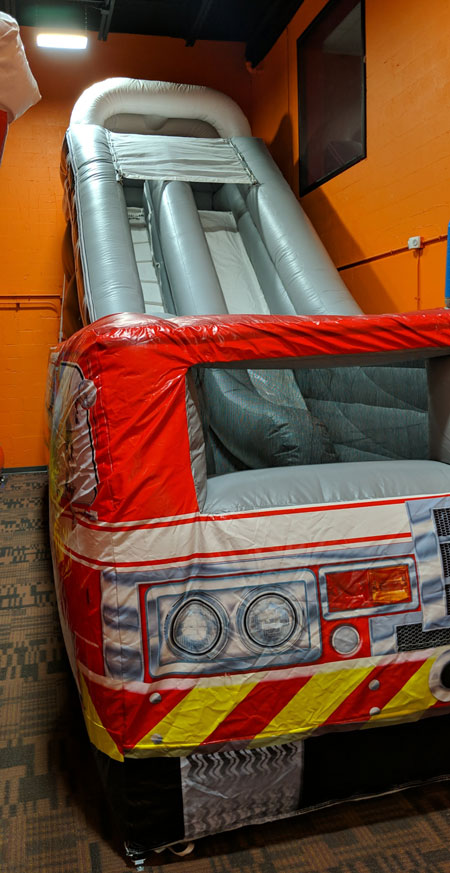 fire truck bounce house slide